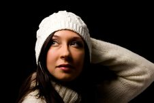 Free Cute Woman With White Winter Hat Stock Image - 17486571