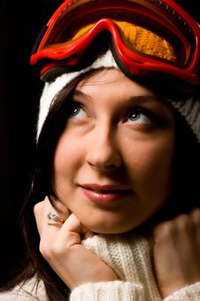Free Cute Woman With Snowboard Mask Stock Photography - 17486592