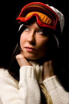 Free Cute Woman With Snowboard Mask Royalty Free Stock Photo - 17486615