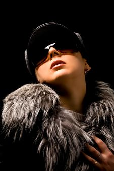 Free Sexy Woman With Furr And Sunglasses Royalty Free Stock Photos - 17486648
