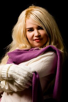 Free Smiling Woman With Violet Scarf Royalty Free Stock Image - 17486806