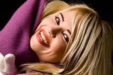 Free Smiling Woman With Violet Scarf Stock Photo - 17486860