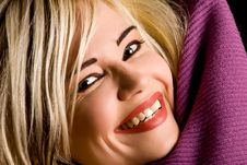 Free Smiling Woman With Violet Scarf Stock Photo - 17486880