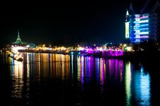 Free Night Scene At Bangpakong River Royalty Free Stock Photo - 17486895