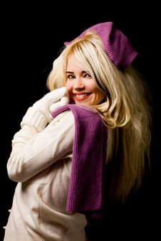 Free Smiling Woman With Violet Scarf Royalty Free Stock Photography - 17486897