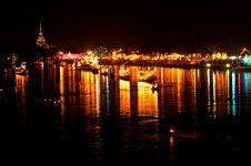 Free Night Scene At Bangpakong River Royalty Free Stock Photo - 17486905