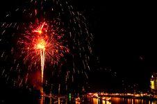 Free Colorful Fireworks In Night At Bangpakong River Royalty Free Stock Image - 17486946