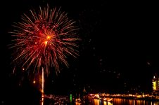 Free Colorful Fireworks In Night At Bangpakong River Stock Photos - 17487003