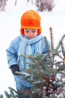 Little Boy Playing Snowballs, Snowman Sculpts Stock Photo