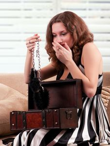 Woman With Handcuffs Stock Images