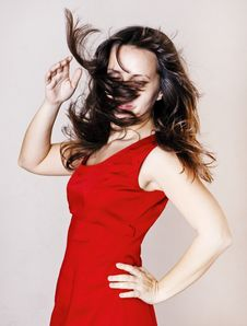 Beauty Woman In Red Dress Royalty Free Stock Photos