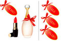 Free Red Lipstick And Perfume Bottle With Discount Card Stock Photos - 17494033