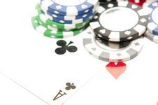 Aces With Poker Chips Stock Photos