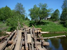 An Old Wooden Bridge Stock Photography
