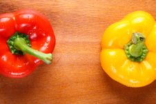Free Two Peppers On Board Royalty Free Stock Photos - 17491778