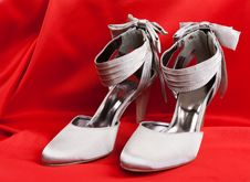 Pair Of White Women S Shoes Royalty Free Stock Photo