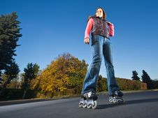 Free Rollerblading Girl Royalty Free Stock Image - 17492036