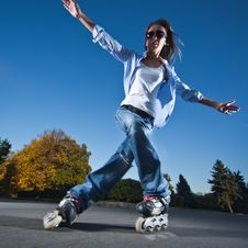 Free Fast Rollerblading Stock Image - 17492051