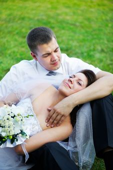 Free Happy Bride And Groom On Grass Royalty Free Stock Image - 17492406