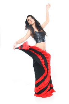 Free Young Woman Dancing Latino Over White Stock Image - 17492521