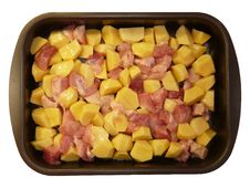 Meat And Potatoes In Trays, Stock Image