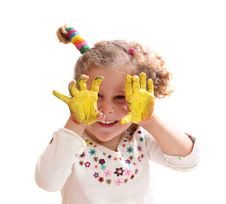 Free Girl With Paint Hands Isolated On White Stock Photos - 17493753