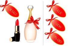 Red Lipstick And Perfume Bottle With Discount Card Stock Photos