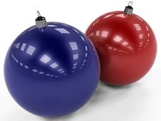 Red And Blue Christmas Toys Stock Photo