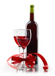 Free Bottle With Red Wine And Glass Stock Photos - 17494263
