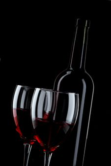 Free Bottle And Glass Of Red Wine Royalty Free Stock Photo - 17494405