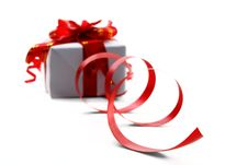 Free Gift Box With Red Bow Royalty Free Stock Photos - 17494638
