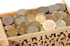 Free Carved Wooden Box Filled With Coins Royalty Free Stock Images - 17495339