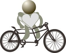 Free Figures Heart And Bike Royalty Free Stock Photos - 17495428