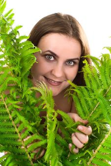 Free Woman With Fern. Royalty Free Stock Photo - 17495875