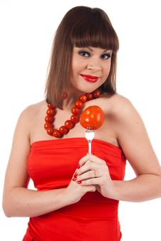 Free Girl With Tomato Stock Images - 17496104