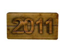 Free 2011 Wood New Year On A Signboard Royalty Free Stock Photos - 17496308