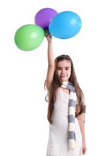 Free Little Smiling Girl With Balloons Stock Photography - 17496942