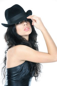 Free Young Beautiful Woman In Black Hat Over White Stock Photo - 17497310