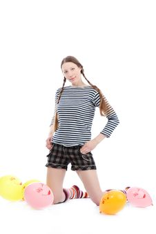 Girl With Baloons Stock Image