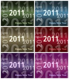 Free Happy New Year Card  - 2011 - Multiple Colors Royalty Free Stock Photography - 17497707