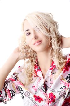 Free Blond Model Wearing A Color Shirt Royalty Free Stock Images - 17497939