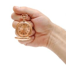 Golden Pocket Watch In Hand On White Stock Images