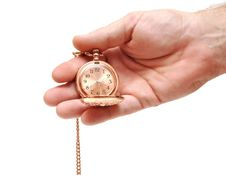 Free Golden Pocket Watch In Hand On White Royalty Free Stock Image - 17498306