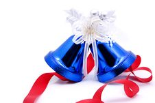 Free Blue Christmas Bells And Red Bow Ribbon Stock Image - 17499571