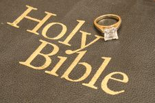 Engagement Ring On Bible Upclose Stock Photos