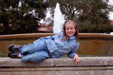 Girl With Fountain Stock Image