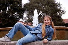 Free Girl In Front Of Fountain Stock Photos - 1753843
