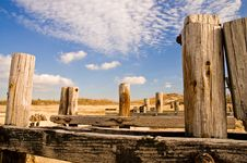 Weatherbeaten Wood Pilings Royalty Free Stock Photography