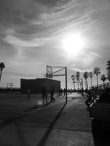 Free Basketball Court On The Beach In Late Afternoon Light Royalty Free Stock Photography - 1758307