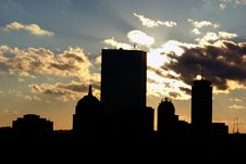 Free Boston Skyline Silhouetted Against Sky Royalty Free Stock Photo - 1759505